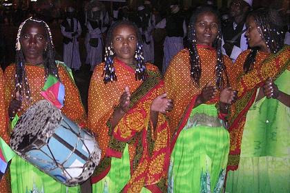 Saho traditional troupe singing and and displaying the Saho tradition. Celebrations of 14th Independence Day - Bathi Meskerem Asmara Eritrea.
