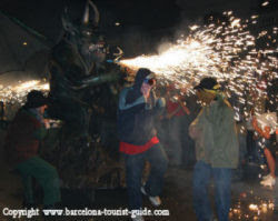 Barcelona Carrefoc - you can see the dragon spraying flames into the crowds