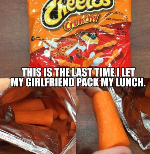 Carrots! no Cheetos!