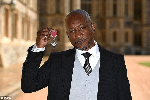Attack: Ms Payne described how Forde, pictured with his MBE, shook her 'like a rag doll' during the assault