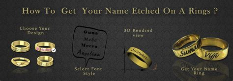 Name Engraved Gold Rings, Wedding Couple Rings, Wedding