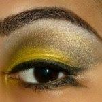 yellow makeup with black eyeliner