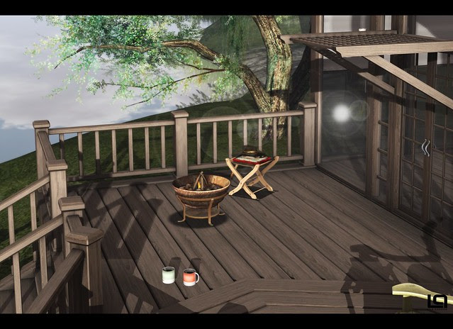 The Home Show - PM - The Lake House - Deck & Zinnias Neo-Urban Firebowl and Adventurers Crossbow Stool