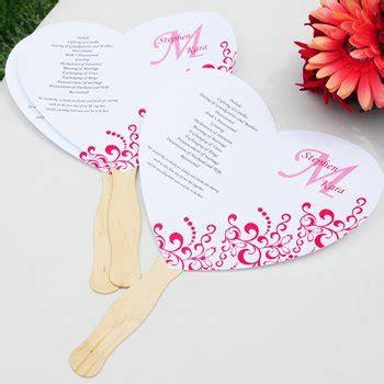 heart wedding program fan kit diy paper fans  wedding