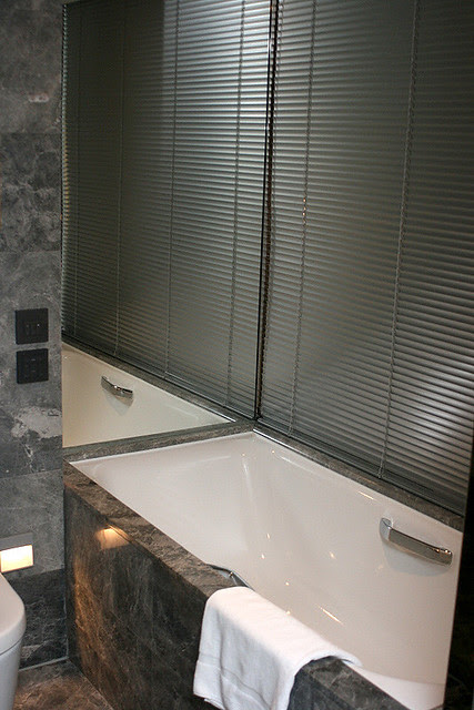 You can have the glass partitions shuttered for privacy as well