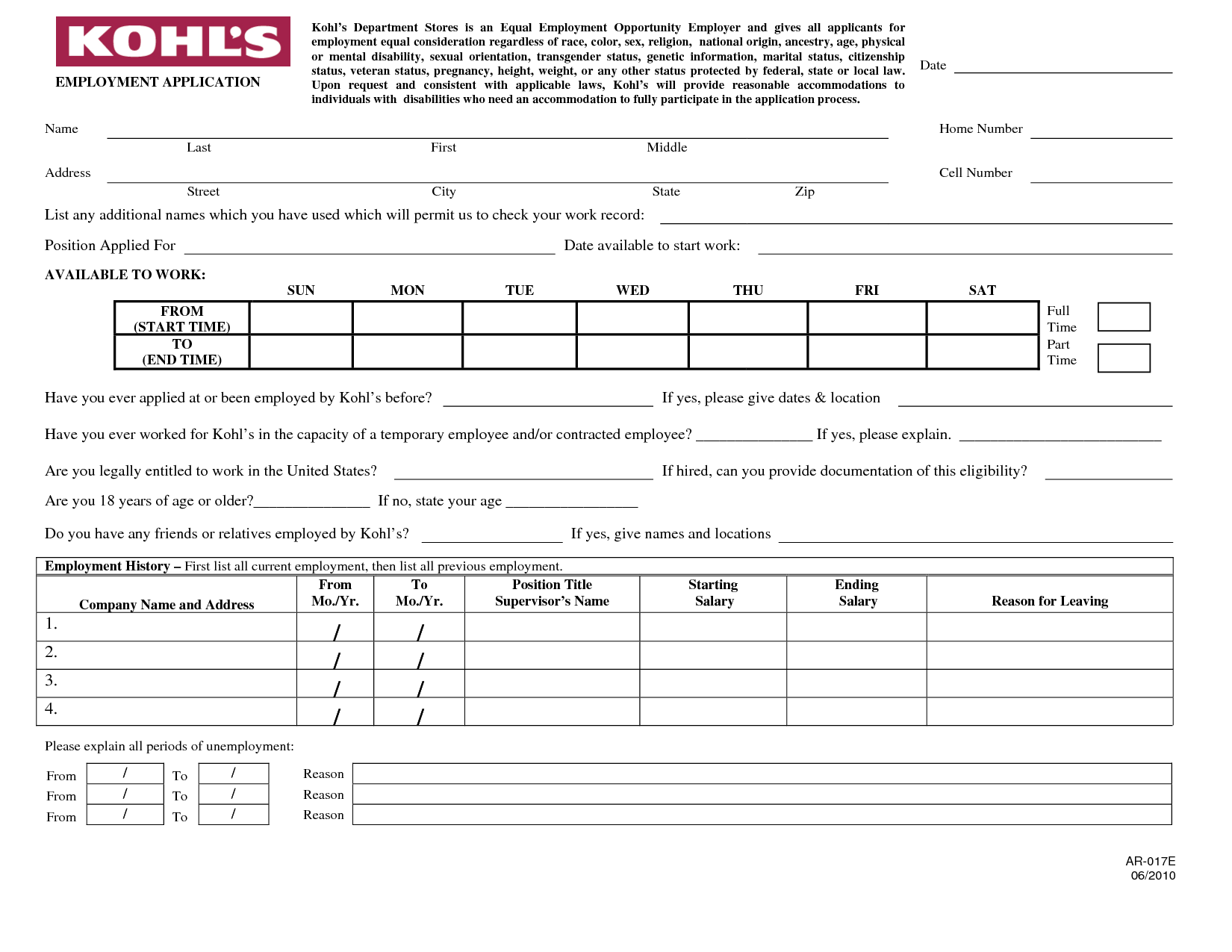 Selective image inside printable employment application