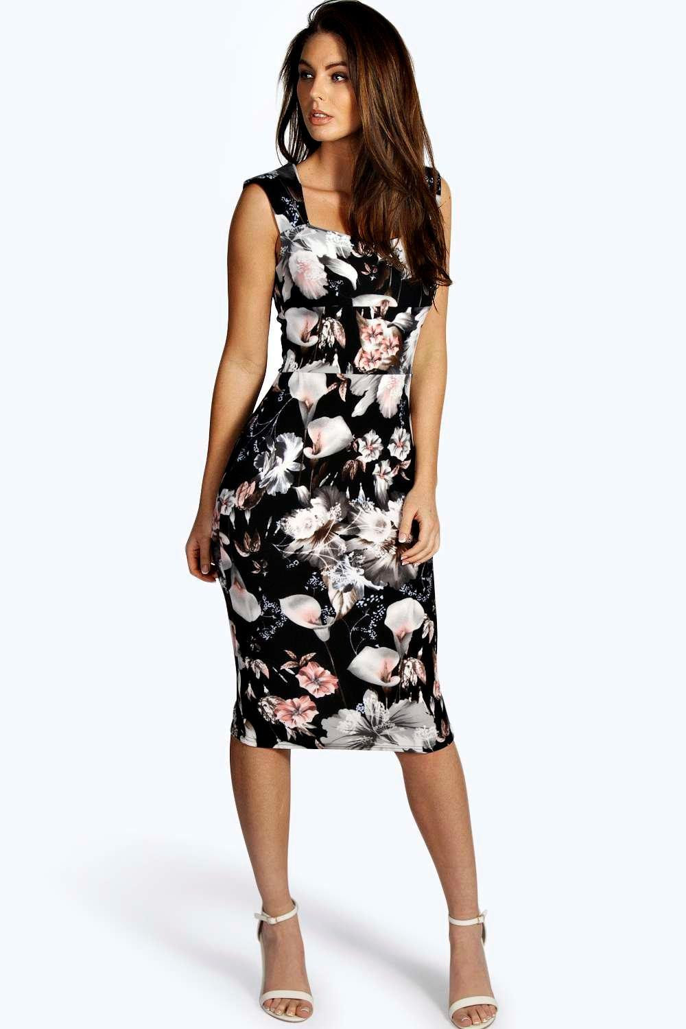 Outlets online zara floral bodycon dress