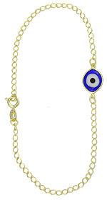 Tornozeleira folheada a ouro c/ olho grego em murano (cores sortidas)-Clique para maiores detalhes