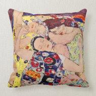 Gustav Klimt The Maidens Vintage Throw Pillow throwpillow