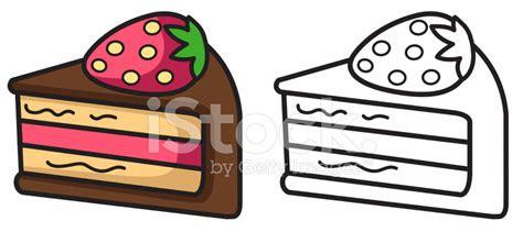 boyama kitabi icin izole renkli ve siyah beyaz pasta stock