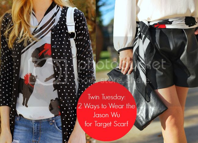Twin Tuesday blog feature, Jason Wu for Target cat print scarf