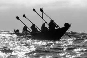 Modern members of the Chumash, who have inhabited the Channel Islands,  re-create a crossing to the islands in a tomol canoe.  Image Courtesy of the National Park Service.