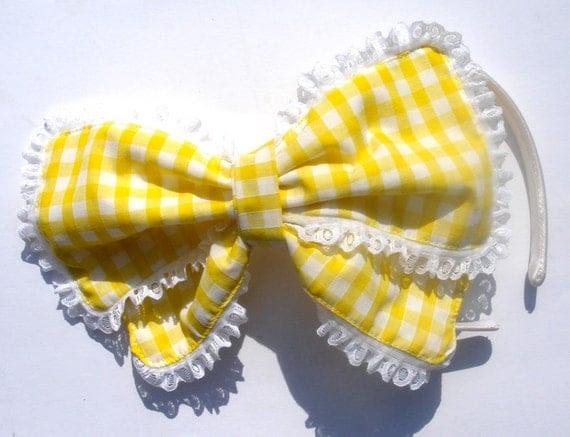 Yellow Gingham Big Bow on Alice Band Kawaii Harajuku Lolita