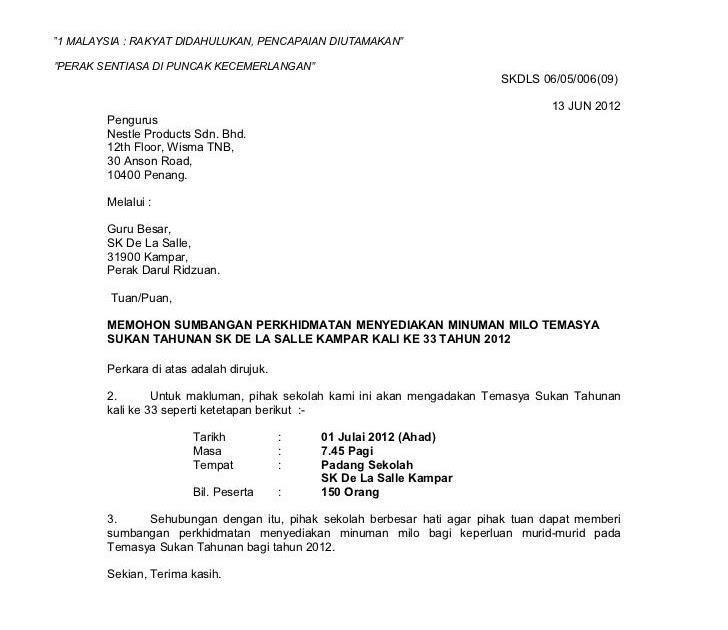 Surat Permohonan Cuti Asrama  Info Melayu