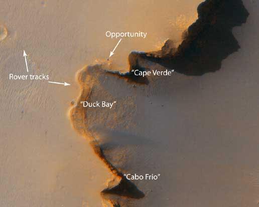 Mars Reconnaissance Orbiter fotografeert Opportunity.