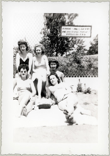 Five girls at the pool