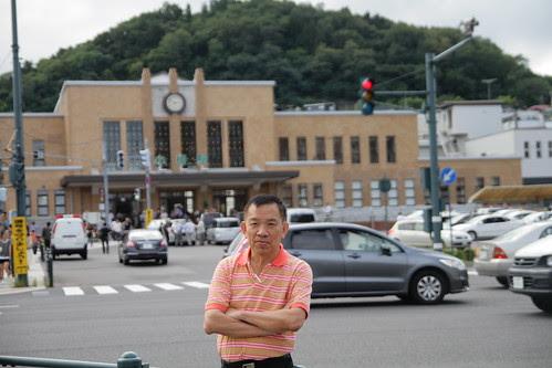 Dad, in front of Otaru station