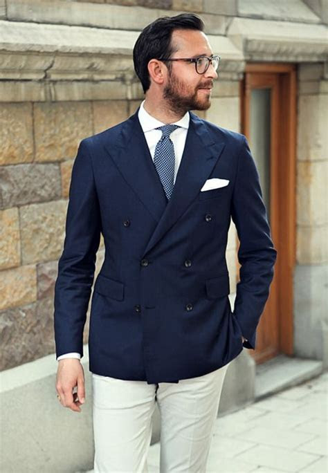 navy double breasted jacket light blue pin dot tie white