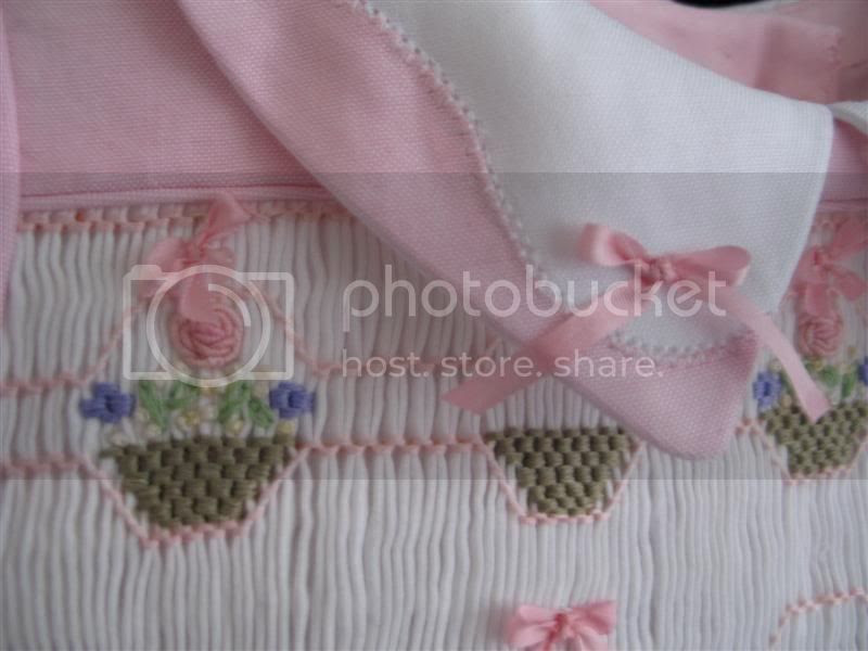 Closeup of Sophies Easter Dress and Pinstitched Madeira collar