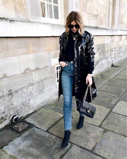 Le Fashion Blog Oversized Black Sunglasses Black Sweater Black Patent Leather Trench Coat Raw Hem Jeans Black Heeled Boots Matrix Outerwear Trend Via @Emmahill