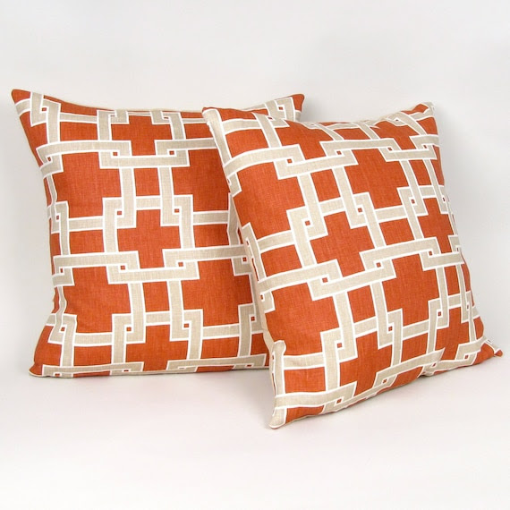 "Persimmon and Beige ""City Square"" Linen Pillow Cover 18"""