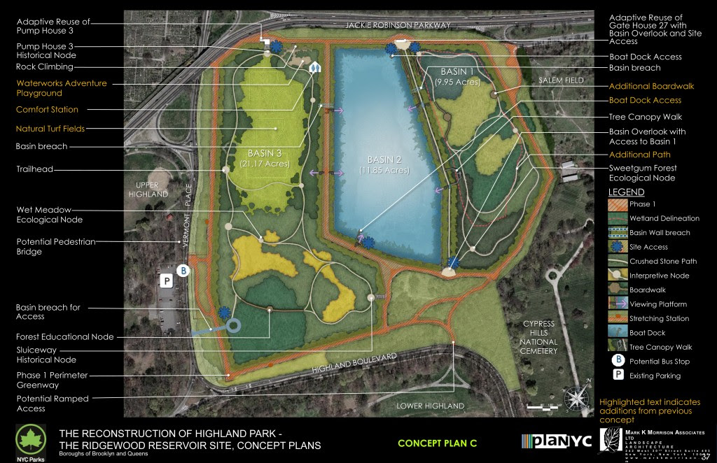 Plan C: Eight-acre lawn; Sports fields; Water-themed playground. Photos Courtesy of NYC Parks Department