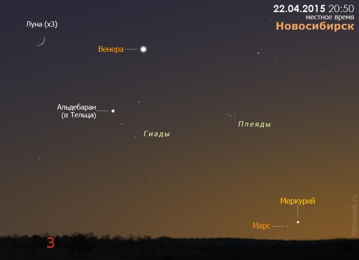 Марс, Меркурий, Венера и растущая Луна на вечернем небе Новосибирска 22 апреля 2015 года