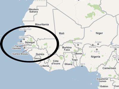 Senegal Map Of Africa | Africa Map on