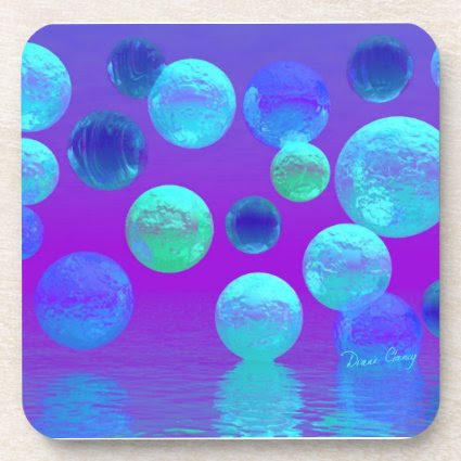Violet Mist - Cyan and Purple Abstract Light Beverage Coasters