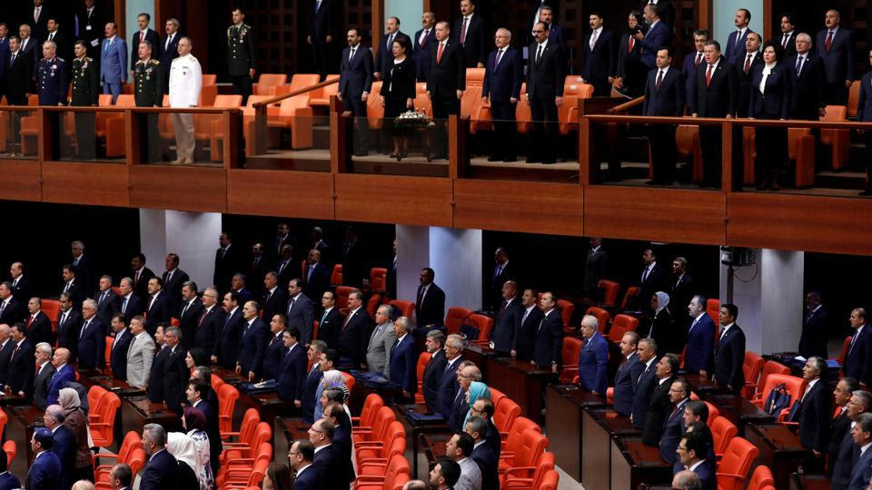 Turkish Parliament convenes to commemorate the attempted coup on its first anniversary at the Turkish parliament in Ankara, Turkey.