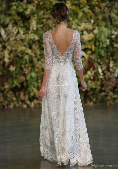 Discount Vintage 2016 Silver Lace Wedding Dresses A Line