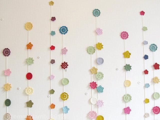 folk flowers, crochet garland... Clara - vintage autumn colours of gold, aqua, russet and grass green