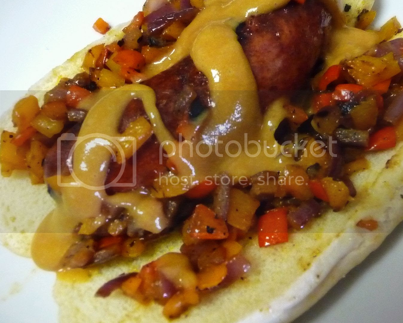 grilled sausage and pepper sandwiches with sweet hot mustard
