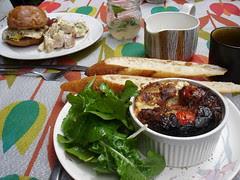 l-r: sausage & egg breakfast sandwich, frittata
