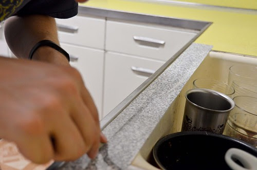 Contact Paper Counters - Step 2 - Apply around sink with overhang