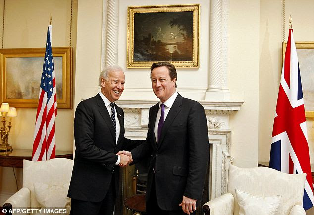 Big trio: After hitting Paris, Biden and his entourage stopped in London and met with Prime Minister David Cameron, spending a night at the Hyatt Regency for $459,388.65