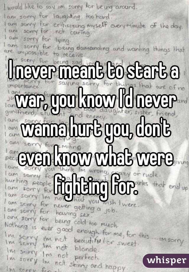 I Never Meant To Start A War You Know Id Never Wanna Hurt You Don
