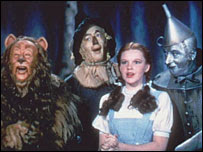 The Cowardly Lion, the Scarecrow, Dorothy, and the Tin Woodsman