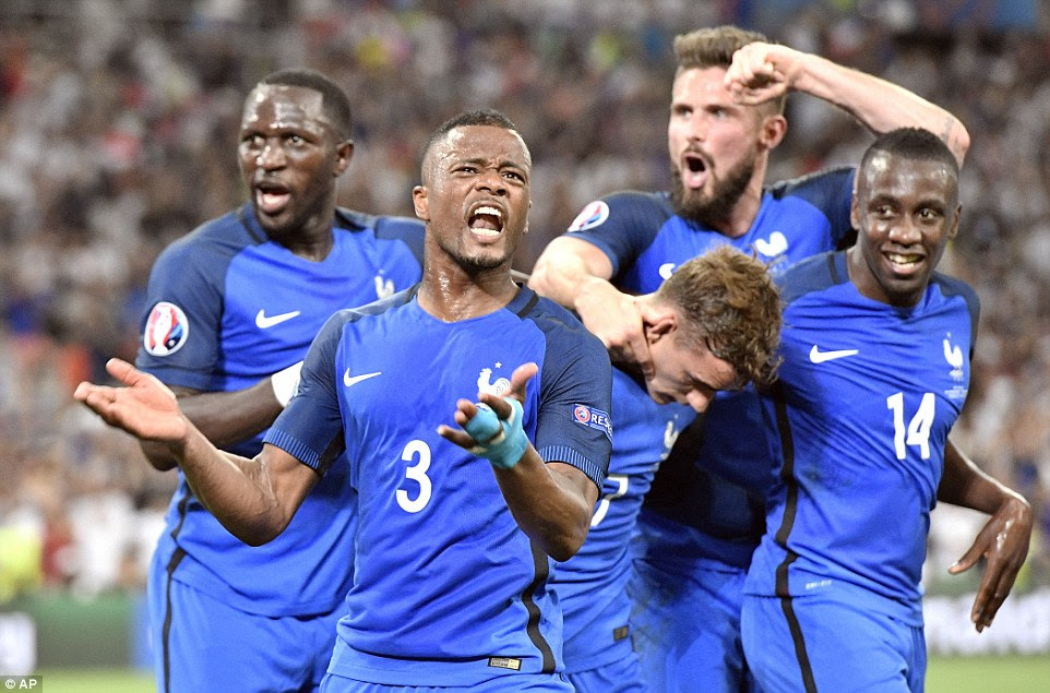 Evra leads the celebrations after Griezmann's goal, which came against the run of play at Stade Velodrome in Marseille