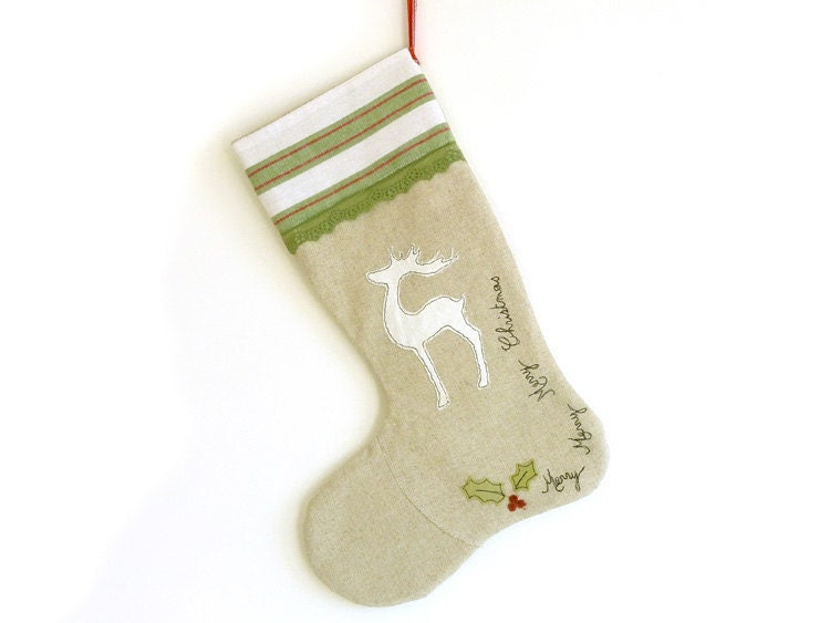 Embroidered Reindeer Stocking - Red, Green, white & linen