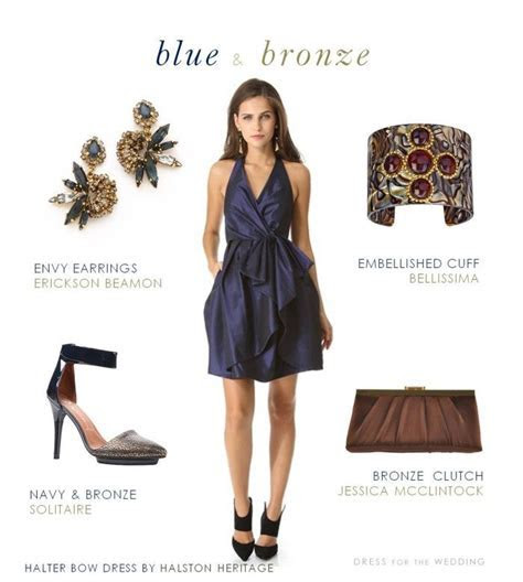 Navy Blue and Bronze Dress for a Wedding   Wedding Guest
