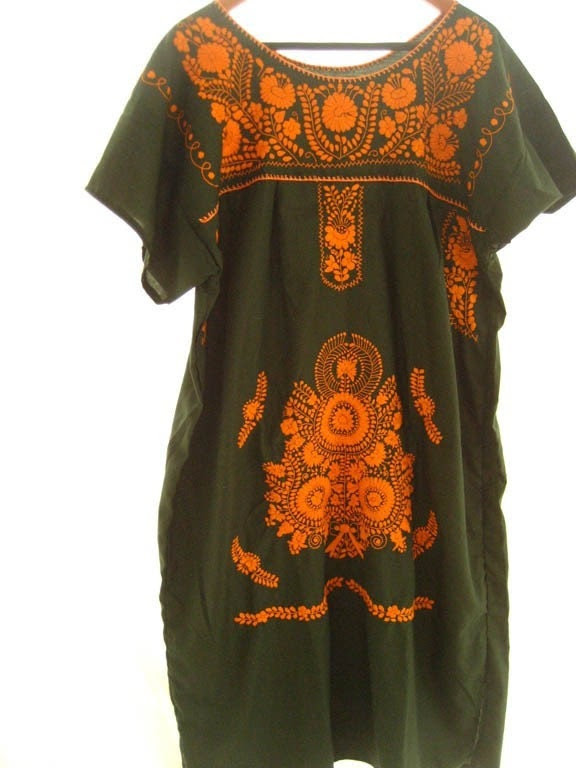 Mexican Embroidered Dress Tunic stylish hippie chic GREEN ORANGES S-M-L-XL