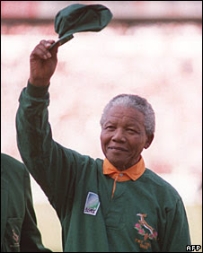 Nelson Mandela at the World Cup final in Johannesburg, June 1995.