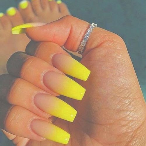 Acrylic Nails Ombre Orange