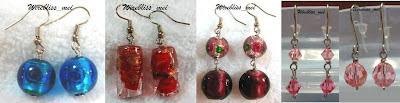 wire wrap glass beads earrings