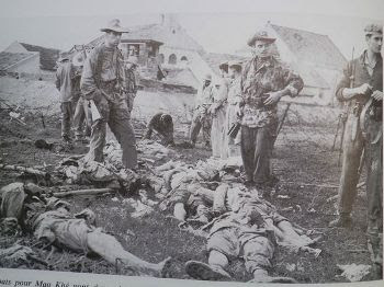 French troops at Mao Khe inspecting fallen enemy troops in front of their positions