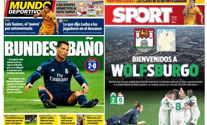 Capas de jornais Mundo Deportivo e Sport derrota Real Madrid (Foto: Reprodução)