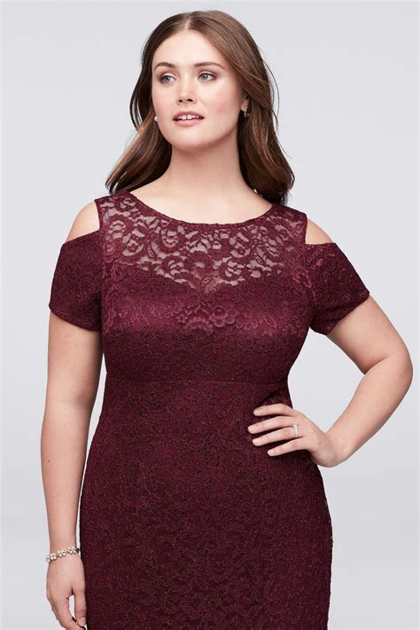Plus Size Cold Shoulder Short Sleeves Long All Over Lace