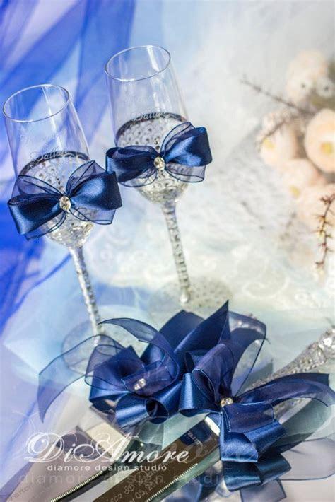 Navy Wedding Flutes and Cake Server Sets, Wedding