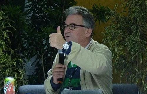 Author Austen Ivereigh speaks during a July 24 talk to WYD pilgrims in Rio. Credit: Michelle Bauman/CNA.